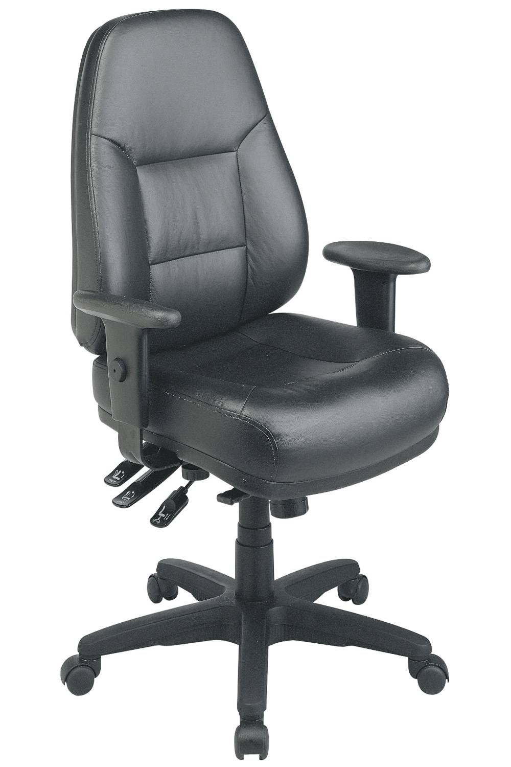 Deluxe Multi Function High Back Black Eco Leather Chair With Ratchet Back And 2 Way Adjustable