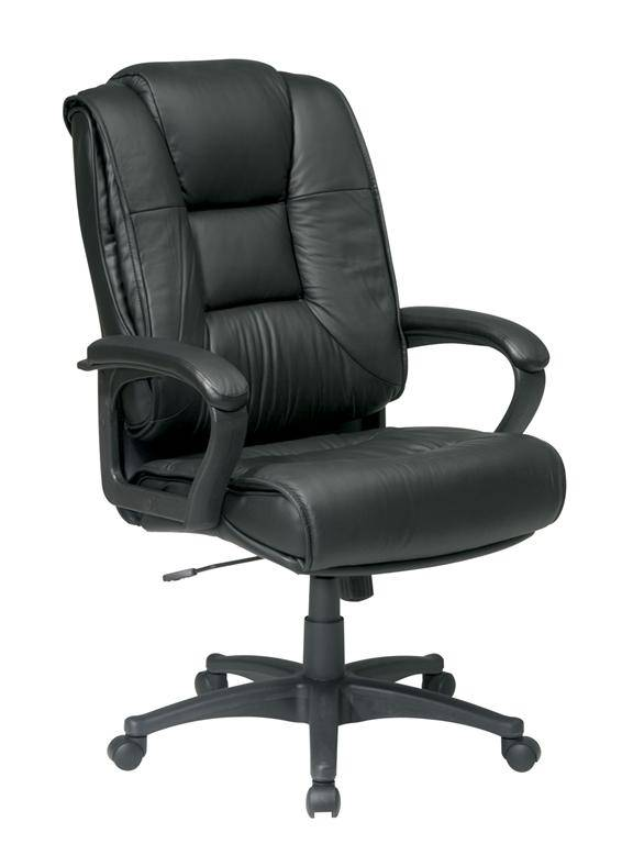 Deluxe High Back Executive Leather Chair With Padded Loop