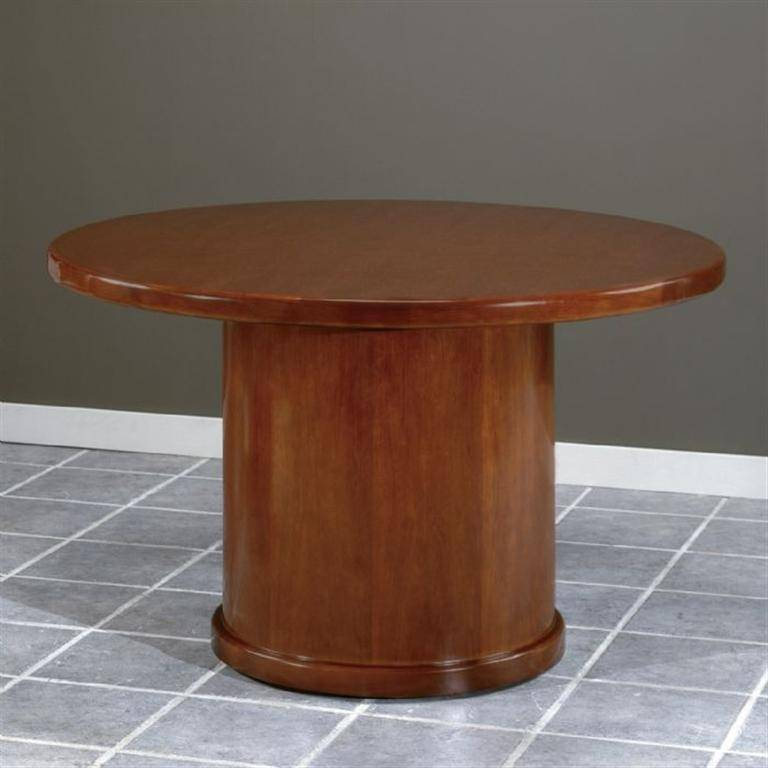 Sonoma 48 Inch Round Conference Table Dark Cherry Wood