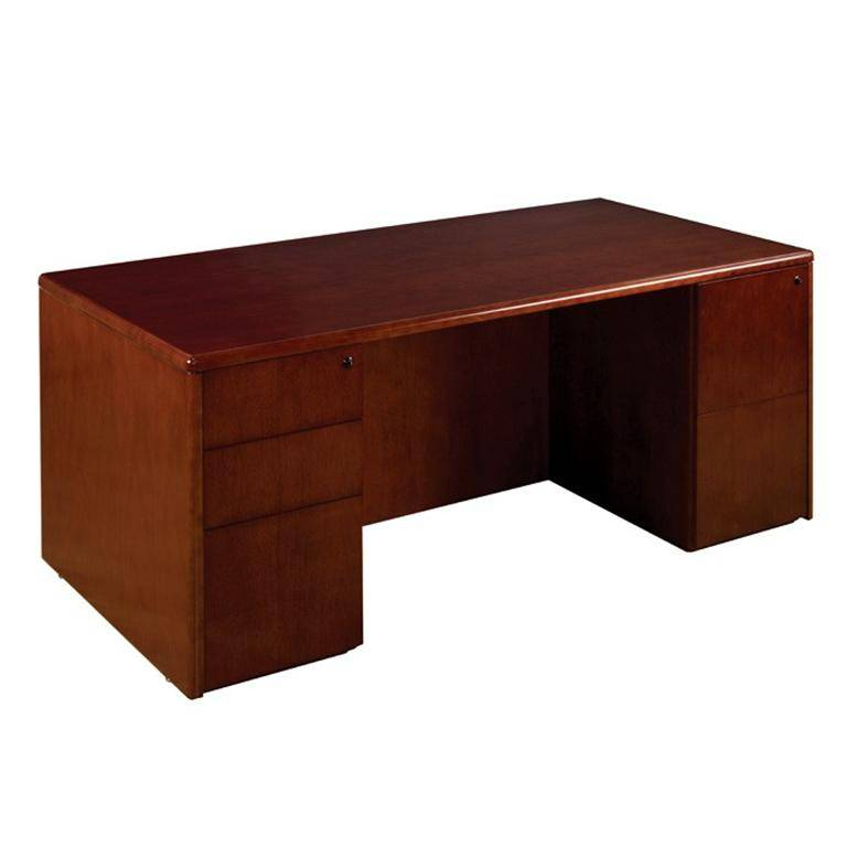 sonoma double pedestal desk 72x36 in dark cherry wood