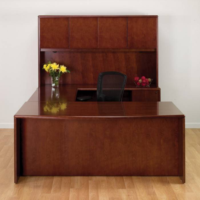 Sonoma U Shape Desk W Hutch 72x107 In Dark Cherry Wood