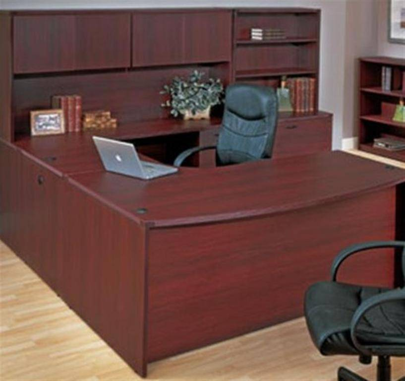 Kenwood U Shape Desk W Hutch Storage 108x107 Mahogany Or