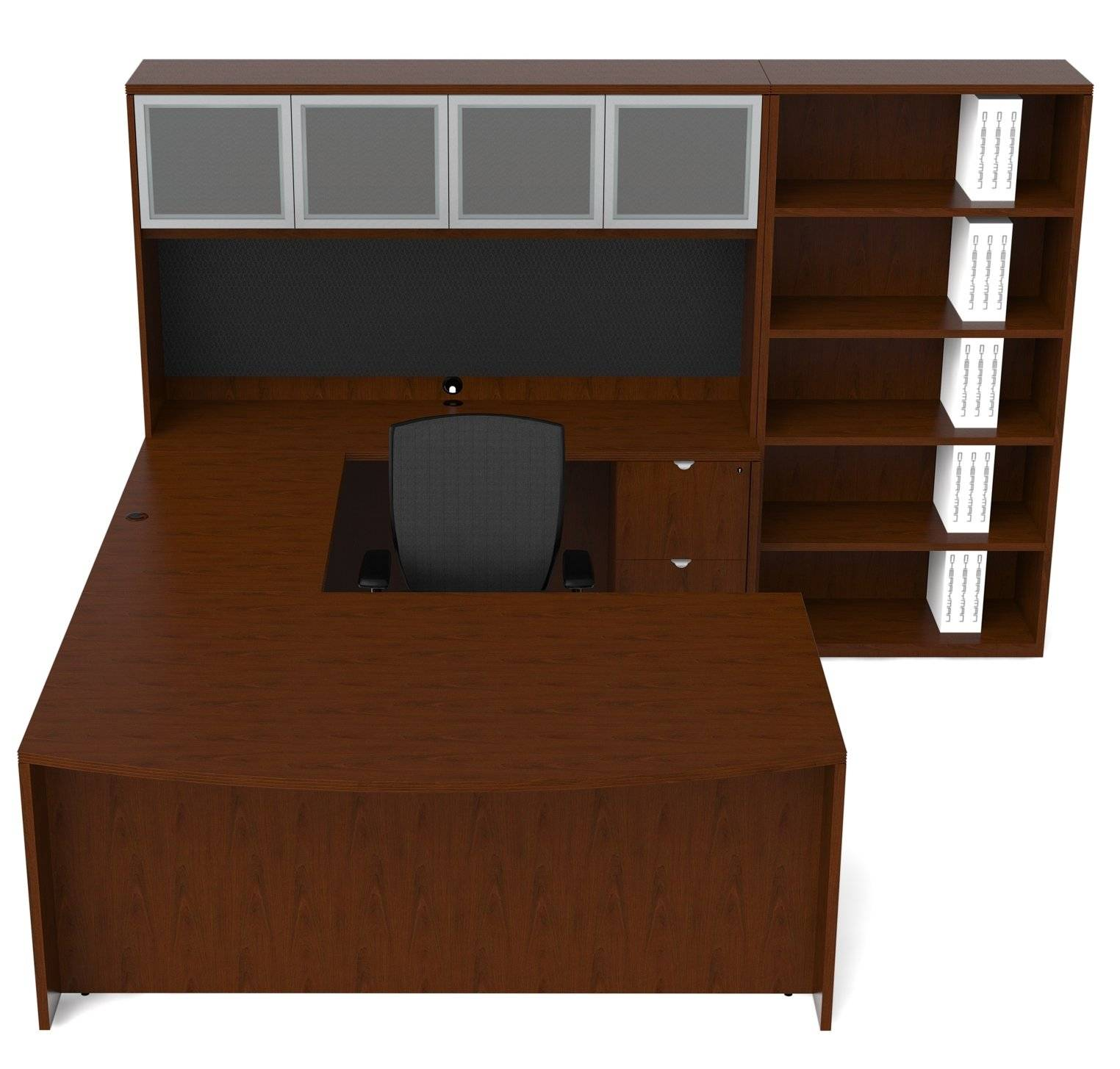 Marvelous photograph of Cherryman Jade Series Bow Front U Shape Desk Configuration w  with #3E2312 color and 1524x1455 pixels